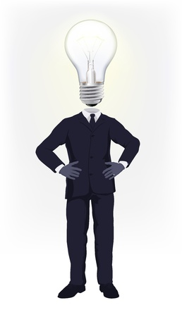 astute: A businessman with a light bulb for a head. Conceptual illustration for a business man having a bright idea or doing smart business