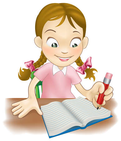 kids writing: Illustration of a young girl sat at her desk writing in a book   Illustration