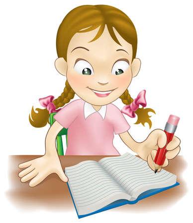 escribiendo: Ilustraci�n de una ni�a sentada en su escritorio en un libro Vectores