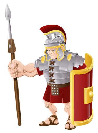 cascos romanos: Ilustración de un fuerte militar en busca romano, con lanza y escudo