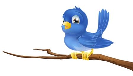 pajaro caricatura: Un personaje de dibujos animados de aves azul sentado en una rama