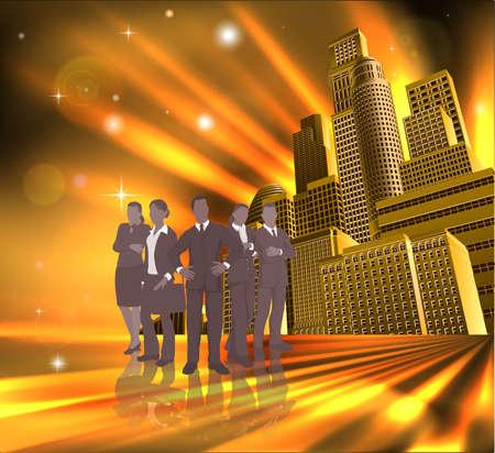 professionnel: Business team de jeunes professionnels en face de la ville moderne.