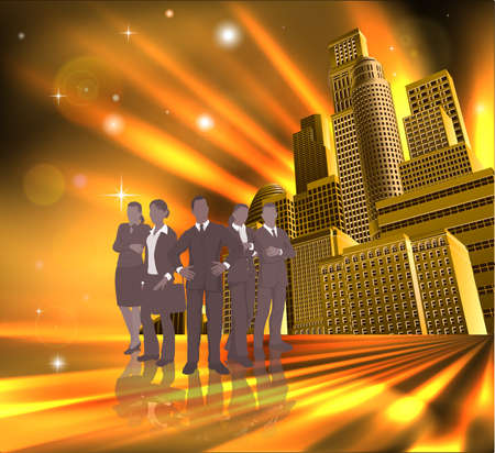 young businessman: Business team of young professionals in front of modern city. Illustration