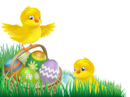 easter eggs basket: An Easter chicks and Easter egg basket isolated corner design element