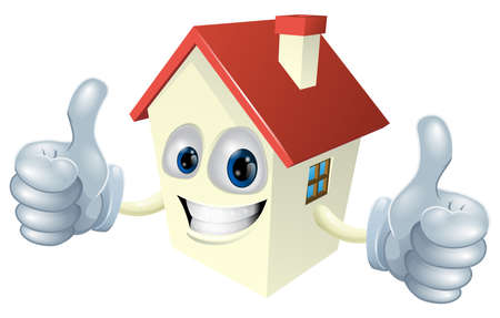 Illustration of a cartoon house mascot giving a double thumbs up Illustration