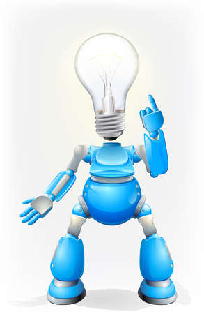 Illustration of a blue robot character with a light bulb for a head Vector