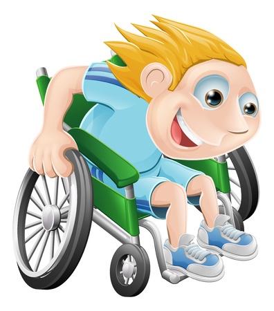 handicap people: Cartoon ilustraci�n de una carrera de ni�o feliz en su silla de ruedas