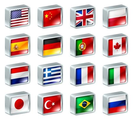 flag: Vlag iconen of knoppen, kan worden gebruikt als taalkeuze iconen voor het vertalen van webpagina's of regio selectie of iets dergelijks. Stock Illustratie
