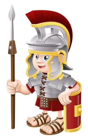 cascos romanos: Ilustración de un lindo feliz soldado romano que sostiene una lanza y un escudo