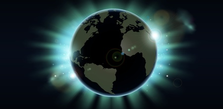 World globe eclipsing the sun directly behind it. Vector