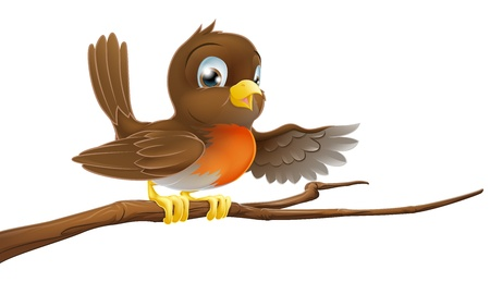 breast comic: A robin redbreast sitting on a tree branch and pointing Illustration