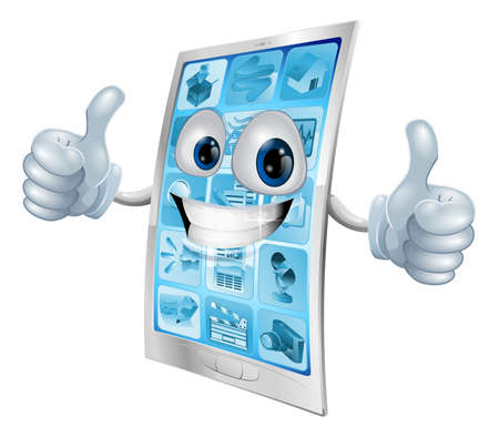 blue cells: Illustration of a mobile phone mascot character doing a double thumbs up gesture