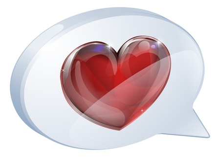 Illustration of a heart speech bubble concept icon graphic Vector