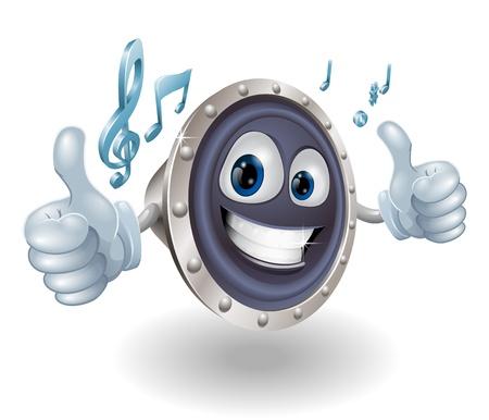 notes musicales: Illustration d'un caract�re haut-parleur audio de musique fra�che faisant un double thumbs up