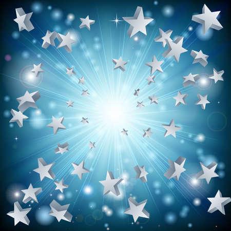 estrellas: Un dise�o gr�fico de fondo, con la explosi�n de una estrella azul Vectores
