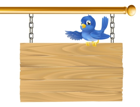 a signboard: Cute bluebird sitting on hanging sign showing what it says with his wing