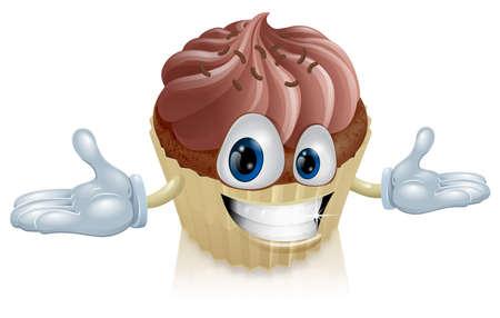 helado caricatura: Ilustración de un hombre feliz linda torta de chocolate