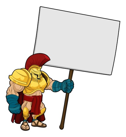 ancient soldiers: Cartoon illustration of a tough looking Spartan or Trojan soldier holding a sign board Illustration