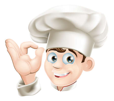 Illustratie van een gelukkig lachende cartoon chef-kok in een chef hoed Stock Illustratie
