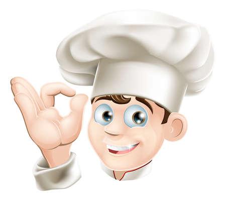 cocinero: Ilustraci�n de una caricatura de cocina feliz y sonriente en un sombrero de chef