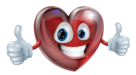 thumbs up symbol: A happy heart mascot smiling and giving a thumbs up