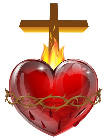 jesus on the cross: Illustration of the Sacred Heart, representing Jesus Christs divine love for humanity.