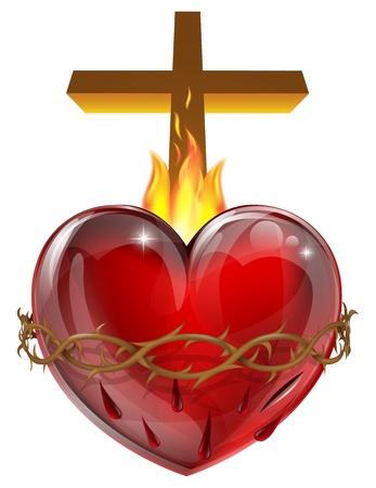 jesus on cross: Illustrazione del Sacro Cuore, che rappresenta l'amore divino di Ges� Cristo per l'umanit�.