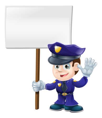 policier: Illustration d'un caract�re de police mignon agitant ou de dire stop et qui tient une pancarte un message