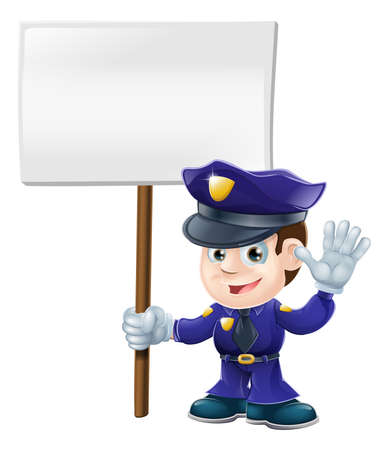 Illustration of a cute police character waving or saying stop and holding message sign