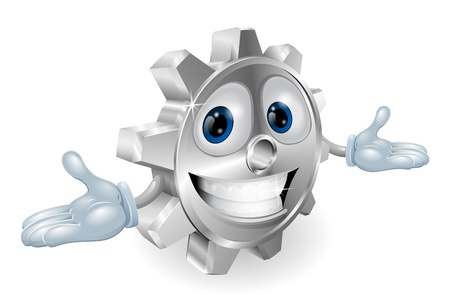 Illustration of a cute cartoon cog gear character Vector