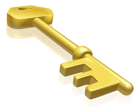 An illustration of a brass or gold key with reflection Vector