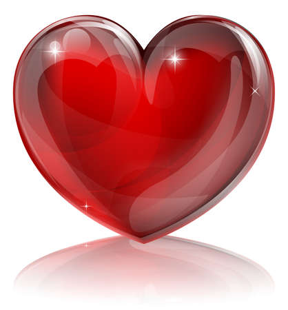 glass heart: An illustration of a bright shiny red heart shaped symbol