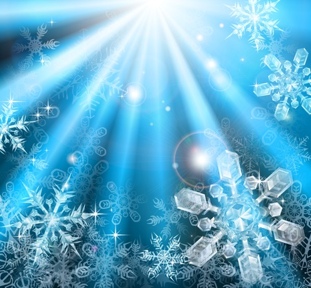 A blue winter Christmas snowflakes background illustration
