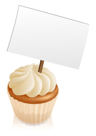 stuck: Illustration of a cupcake with a sign sticking out if it  Illustration