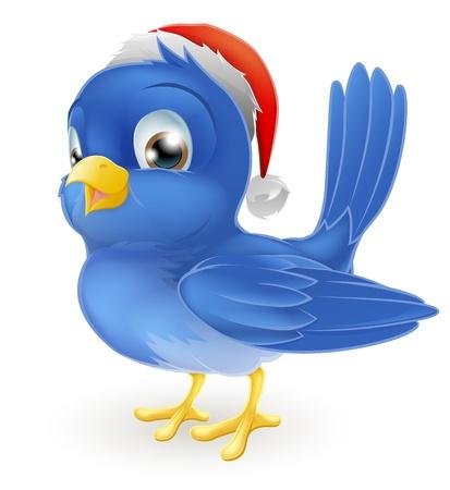 pere noel: Un oiseau bleu dessin anim� dans l'illustration de No�l chapeau de Santa