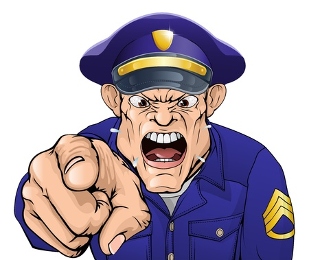 Illustration of a cartoon angry policeman cop or security guard shouting at the viewer Vector