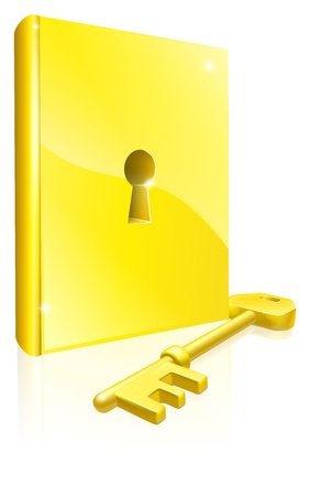 Conceptual illustration of a golden book with lock and key. Could be a concept for access to education, training, literature or learning  Vector