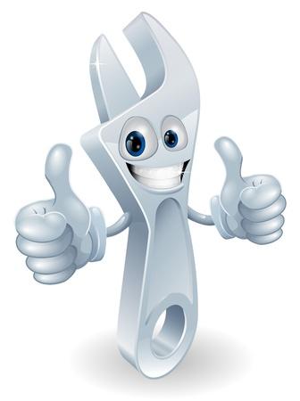 herramientas de mec�nica: La mascota de una llave ajustable hombre dando un doble pulgares y sonriendo