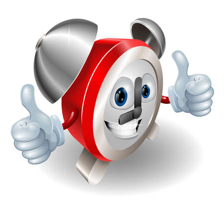 Alarm clock character mascot giving a double thumbs up