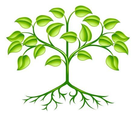 boom wortels: Een groene gestileerde boom design element als symbool van groei, de natuur of het milieu