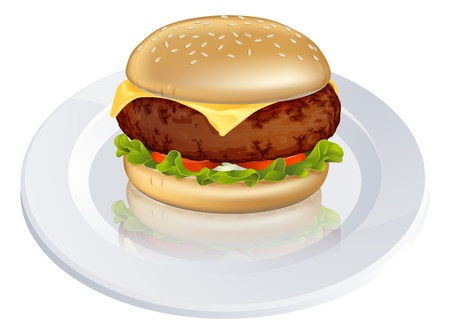 sandwiches: Illustration of a tasty looking beefburger or cheeseburger type burger on a plate Illustration