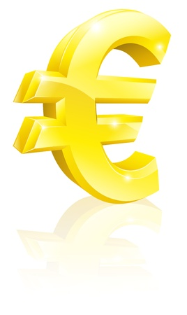 euro sign: Illustration of a big shiny gold Euro currency sign