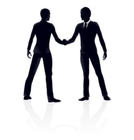 negotiations: De muy alta calidad la gente de negocios detallada ilustraci�n de apret�n de manos.