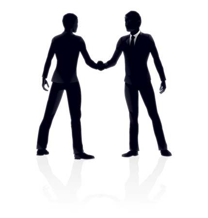 silouette: Very high quality detailed business people handshake illustration.