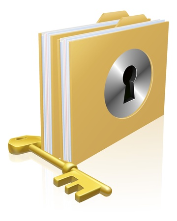 protected: Folder or file with a keyhole locked with a key. Concept for privacy or data protection, or secure data storage etc. Illustration