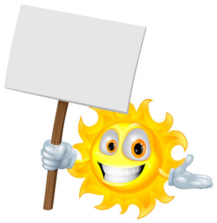 man holding a blank sign: Illustration of a sun character holding a sign board