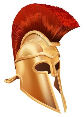 casco rojo: Ilustración de un casco de bronce de Troya, un casco espartano, casco romano o un casco griego. Estilo corintio. Vectores