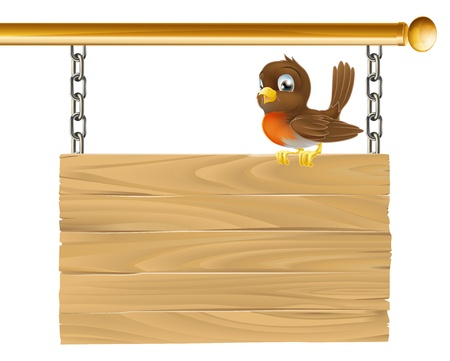 red breast: Illustration of a hanging wooden sign with a robin bird seated on it