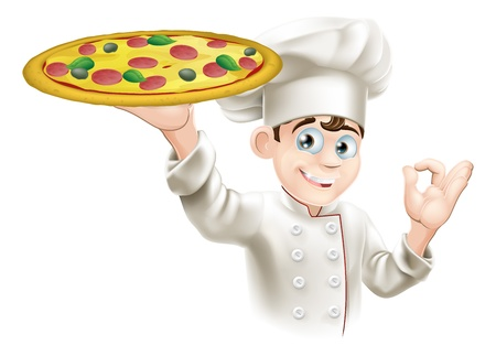 Pizza chef doing an okay sign and holding up a tasty looking pizza