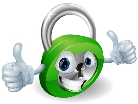 lock up: Happy padlock security concept mascot illustration